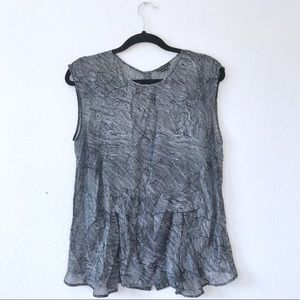 EUC Theory Sleeveless Silk Top Semi Sheer Sz M